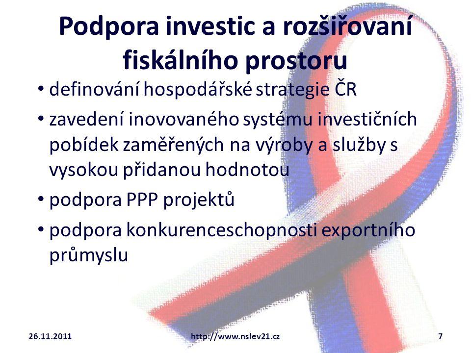 Podpora investic a rozšiřovaní fiskálního prostoru aktivní příprava na evropskou finanční perspektivu v období 2014-2021 podpora (eko)technologických inovací a výzkumu a vývoje 26.11.2011http://www.nslev21.cz8