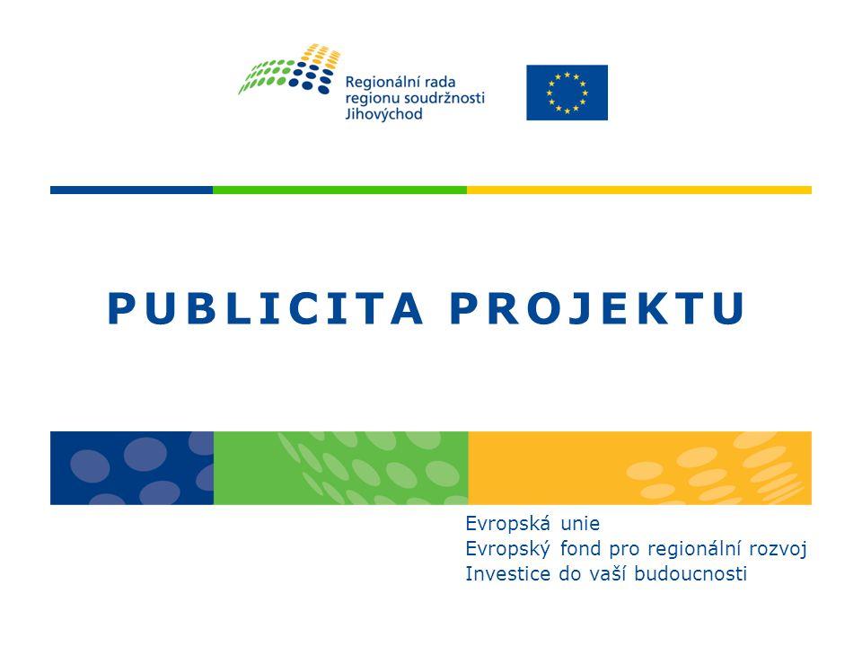 Pravidla publicity Příručka publicity na www.jihovychod.cz pravidla publicity je příjemce povinen dodržovat v případě, že získá finanční prostředky z Evropského fondu pro regionální rozvoj prostřednictvím ROP JV smyslem je zvýšit povědomí veřejnosti o poskytnuté podpoře dodržování publicity je kontrolováno a v případě nedodržení požadavků se příjemce vystavuje riziku odebrání části dotace pravidla se týkají: –grafických norem –časových limitů příjemce musí dále zvážit: –vhodnost umístění propagačních materiálů –velikost a četnost propagačních materiálů –formu jednotlivých nástrojů publicity