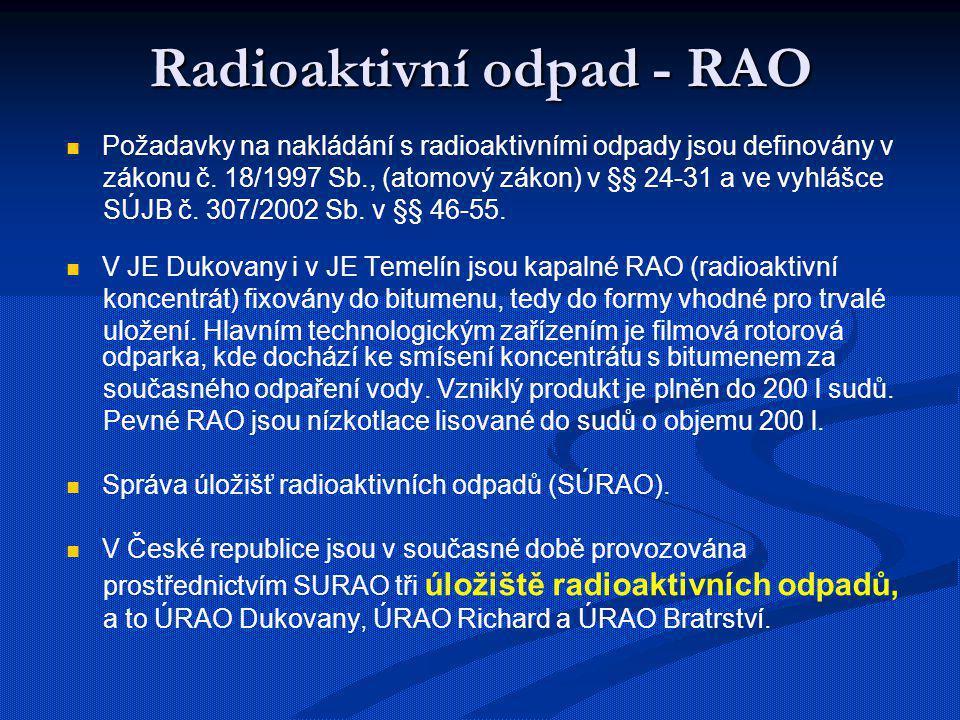 Kontejner CASTOR 440/84 Po schlazení Po schlazení Na 50 – 60 let Na 50 – 60 let Kapacita 50 – 60 článků = roční produkce 1 reaktoru Kapacita 50 – 60 článků = roční produkce 1 reaktoru
