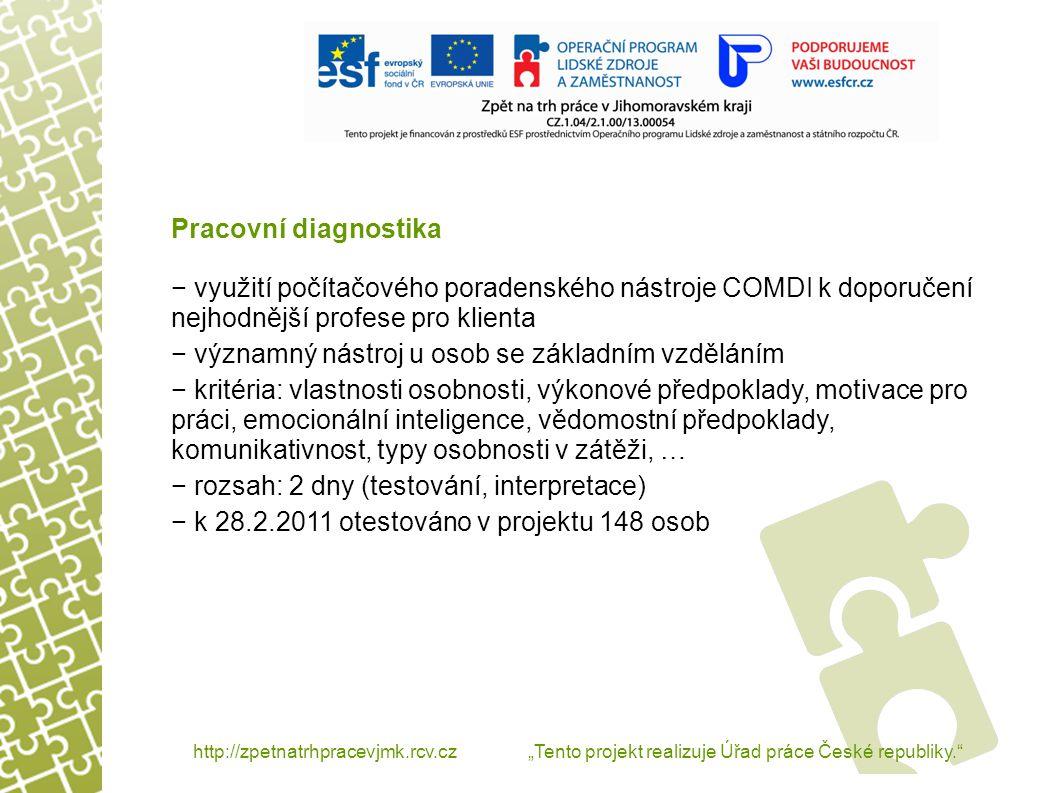 """http://zpetnatrhpracevjmk.rcv.cz """"Tento projekt realizuje Úřad práce České republiky. Pracovní diagnostika – nejčastější první doporučení pracovní diagnostiky"""