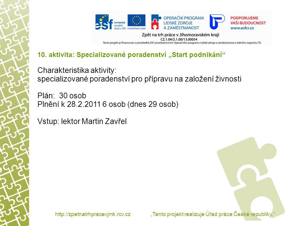 """http://zpetnatrhpracevjmk.rcv.cz """"Tento projekt realizuje Úřad práce České republiky. 11."""