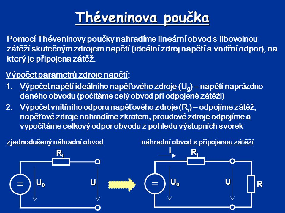 Théveninova poučka == UBUB UAUA R1R1 R2R2 R3R3 R4R4 I1I1 I2I2 I3I3 Postup: 1.Odpojíme zátěž 2.Výpočet napětí ideálního zdroje napětí (U 0 ) vypočítáme výstupní napětí nezatíženého obvodu *kolik je v obvodu uzavřených smyček proudu .