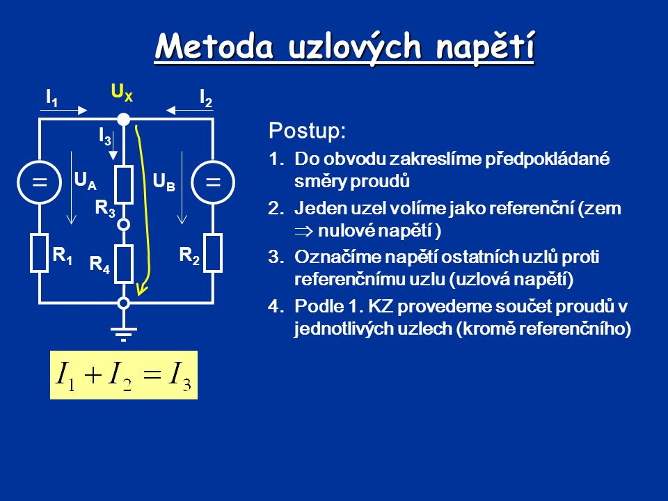 Metoda uzlových napětí == UBUB UAUA R1R1 R2R2 R3R3 R4R4 I1I1 I2I2 I3I3 UXUX 5.Pomocí 2.