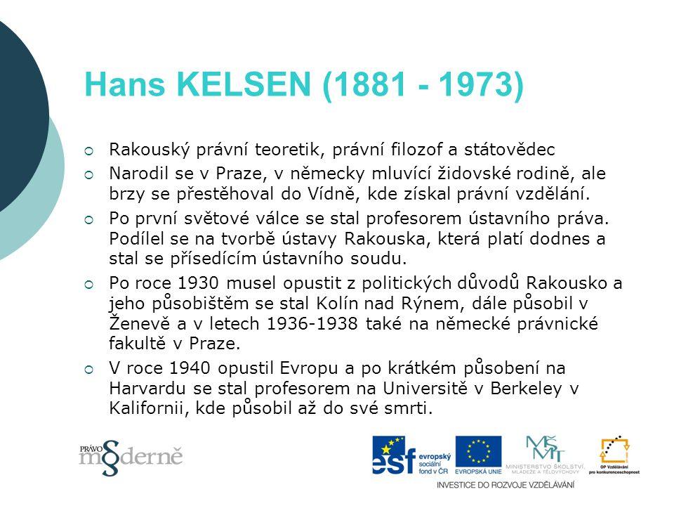 """Kelsen – vymezení práva  Kelsen podává výklad svého učení v práci Ryzí nauka právní  Definuje právo v jeho nejobecnějším smyslu jako """"specifickou techniku společenské organizace  Kelsen zdůrazňuje funkci práva a ta může být univerzálně platná  Právo lze definovat jako donucující řád lidského chování"""