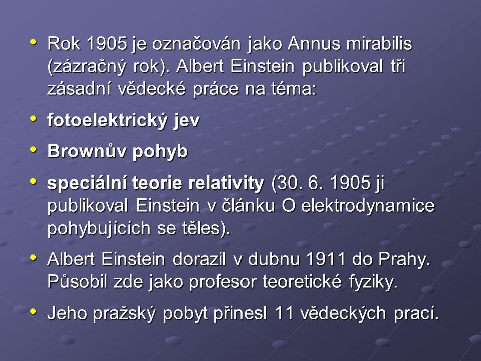 Do Prahy se Einstein vrátil v roce 1921 přednést přednášku na téma své teorie relativity.