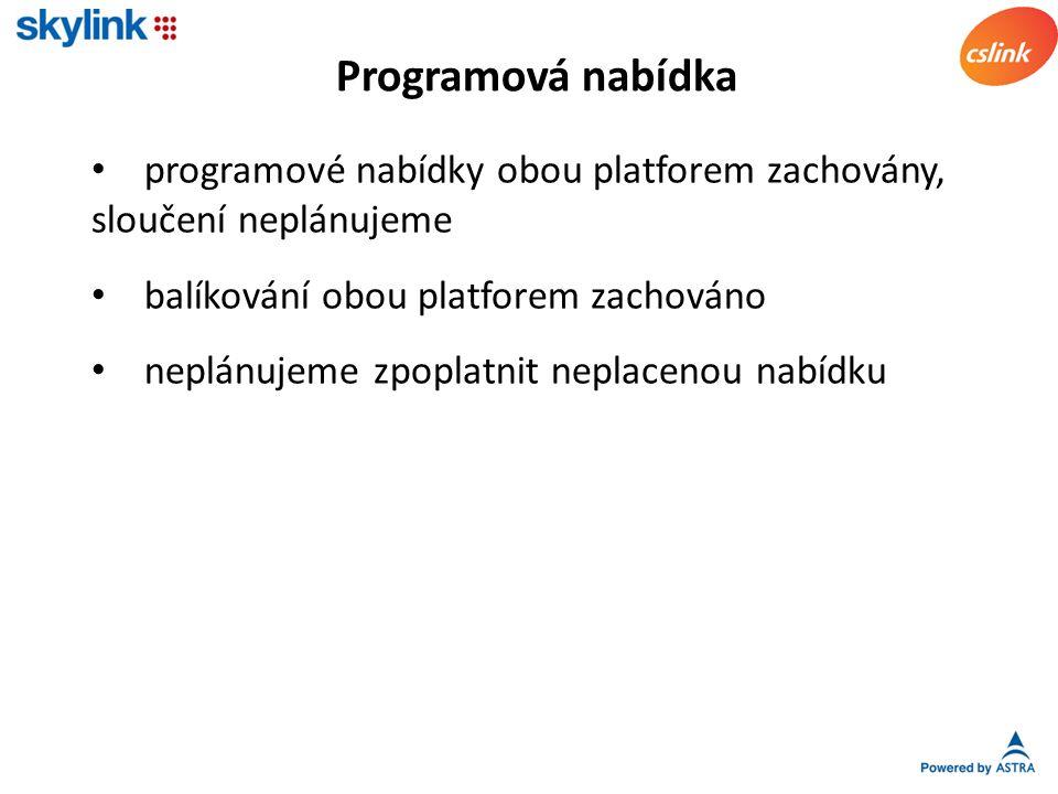 sjednocení cen zjednodušená migrace z CS Linku na Skylink (HDTV) výměna karet dobrovolná jako dosud Karty