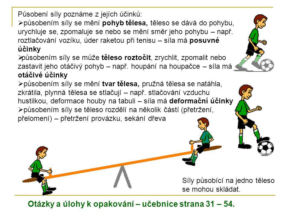 (Učebnice strana 56 – 59) Urychlující a brzdné účinky síly na těleso Působením síly mohou chlapci míč uvést do pohybu, zastavit, zpomalit nebo změnit směr jeho pohybu.
