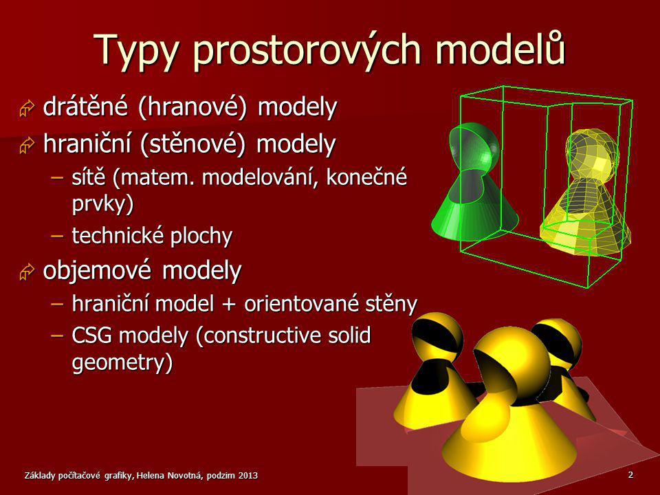 Základy počítačové grafiky, Helena Novotná, podzim 2013 3 CSG model  základní tělesa (primitiva) – hranol, koule, válec...