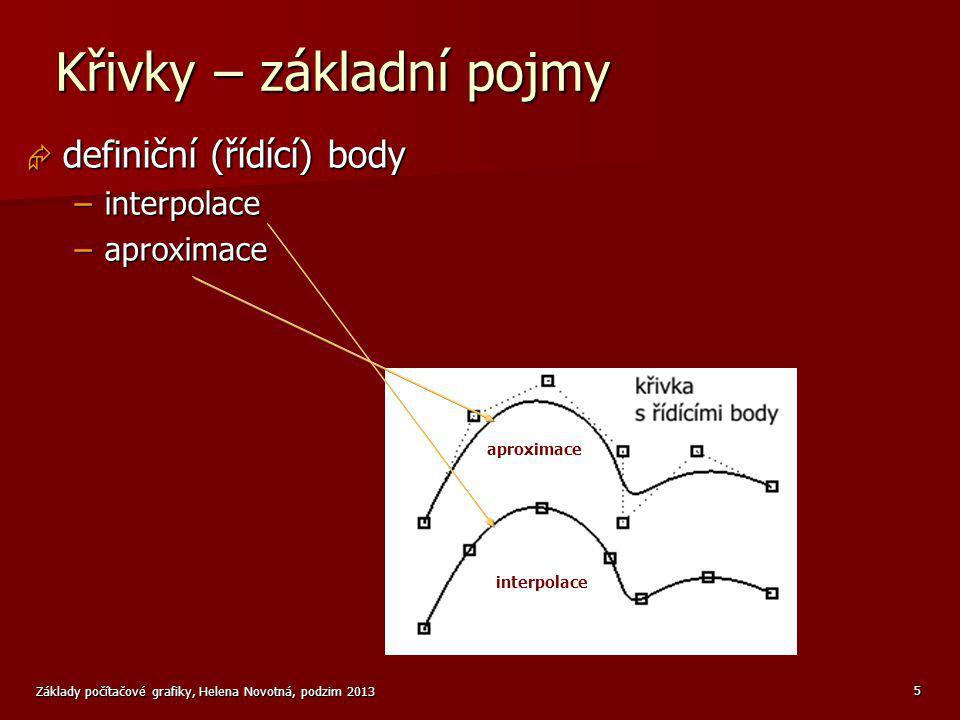Základy počítačové grafiky, Helena Novotná, podzim 2013 6 Křivky – základní pojmy  navazování segmentů křivek – spojitost –G 0 – společný bod –G 1 – společný směr tečny (možná změna rychlosti) –G 2 – hladký přechod (shoda křivosti)  váha bodu –vliv bodu na tvar křivky