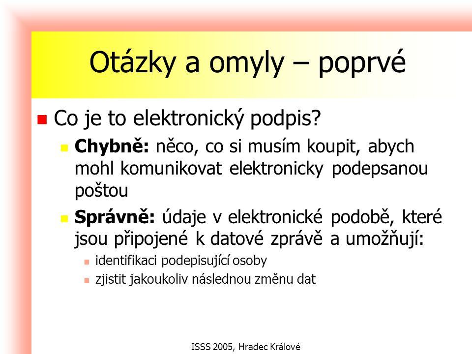 ISSS 2005, Hradec Králové Otázky a omyly – podruhé Co je to kvalifikovaný certifikát.