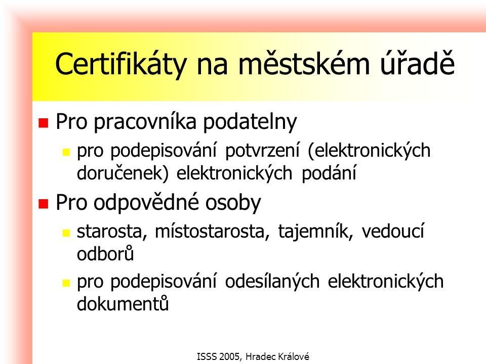 ISSS 2005, Hradec Králové Elektronická podatelna MUNIS produkt firmy Triada, spol.