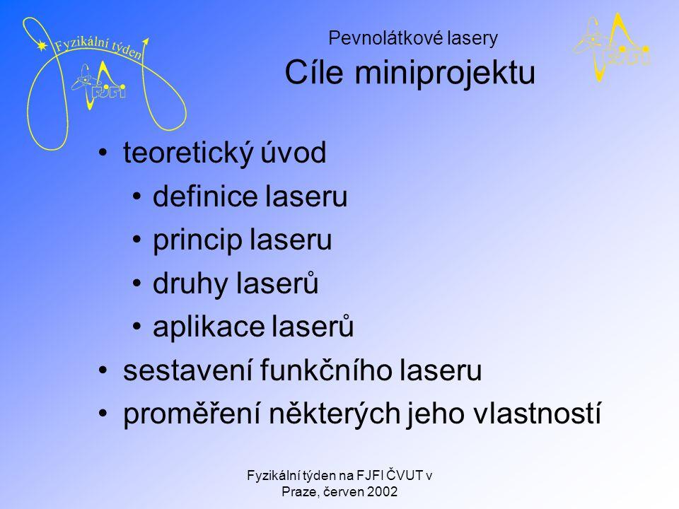 Pevnolátkové lasery Fyzikální týden na FJFI ČVUT v Praze, červen 2002 Definice laseru L ight A mplification by S timulated E mission of R adiation zdroj optického záření založený na principu zesílení světla vynucenou emisí