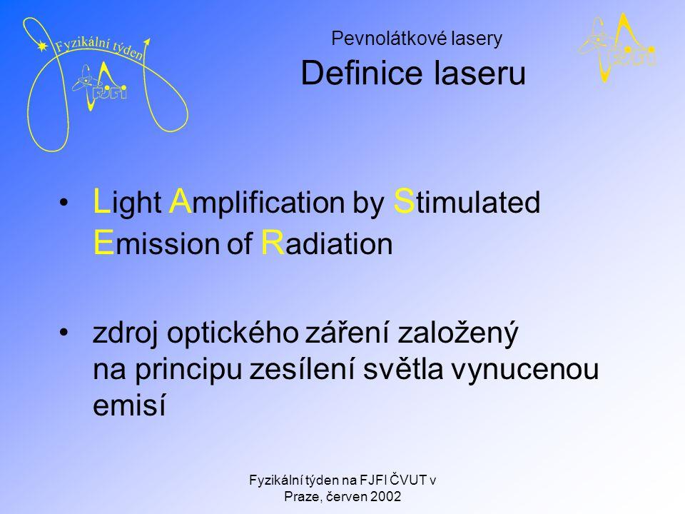 Pevnolátkové lasery Fyzikální týden na FJFI ČVUT v Praze, červen 2002 Princip laseru Musí být splněny dvě podmínky 1.