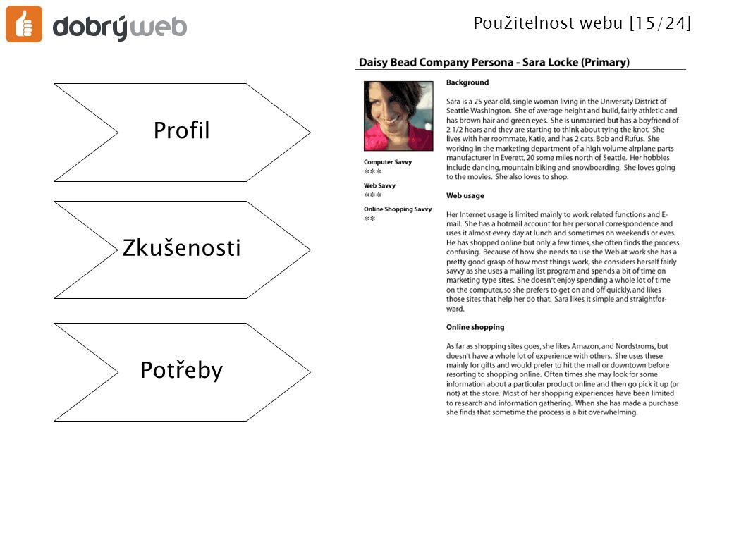 Použitelnost webu [16/24] Uživatelské scénáře ● Co bude uživatel s webem dělat.