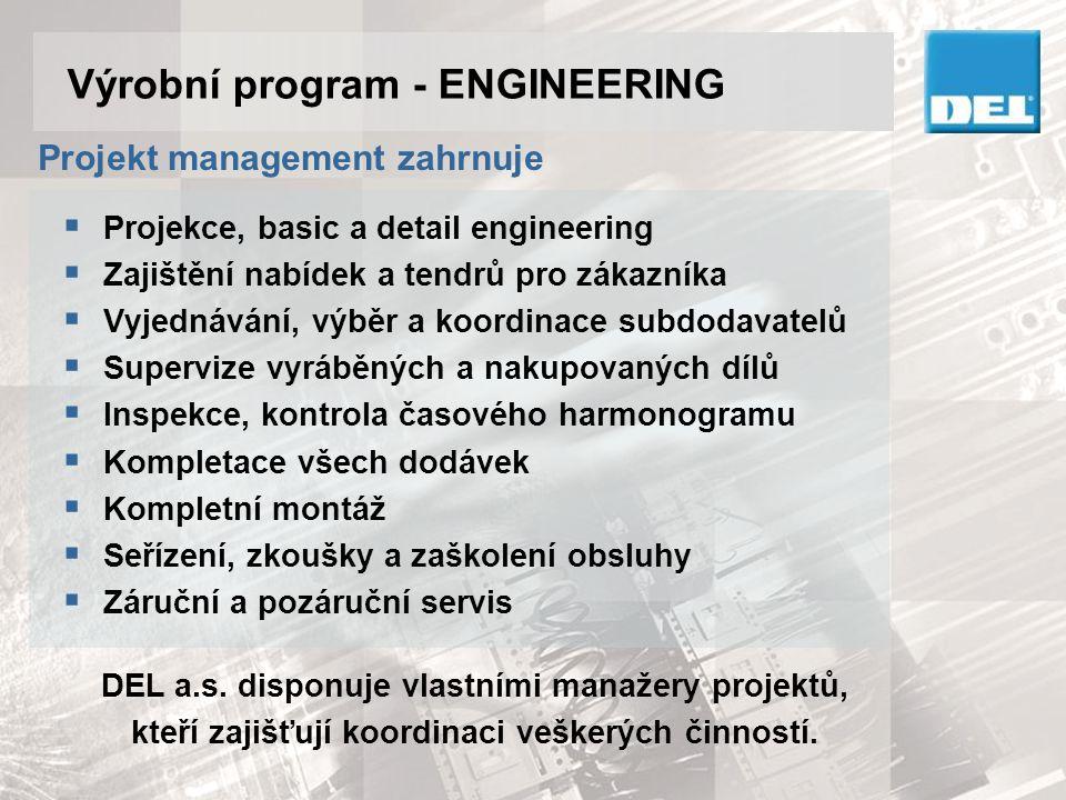 Výrobní program - ENGINEERING  Robotizace, manipulace, mechanizace výrobních zařízení Integrace robotů a lineárních manipulátorů do aplikací, technologií v kovárnách, lisovnách, CNC strojů, apod.