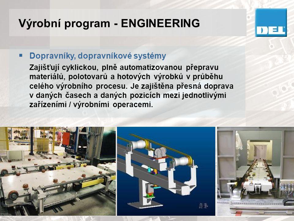 Výrobní program - ENGINEERING  Vypěňovací linky Používají se na výrobu sedáků, zádových opěrek, hlavových opěrek, palubních desek a obložení interiérů automobilů (např.