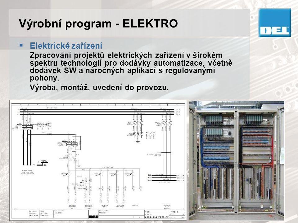 Výrobní program - ELEKTRO  Řešení technologických procesů Projekty ASŘ včetně programového vybavení a to se širokým spektrem řídících systémů, např.