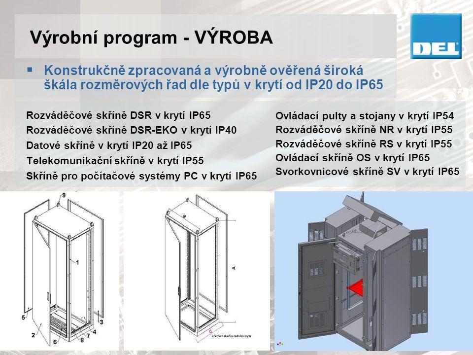 Výrobní program - VÝROBA  Rozváděče, rozvodnice, ovládací pulty a panely kompletně zapojené podle vlastních i cizích projektů, odzkoušené revizními techniky