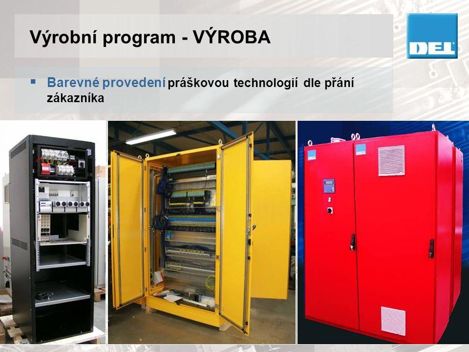 Výrobní program - VÝROBA  Celková výrobní plocha cca 4000 m 2  Hala pro montáž a kompletaci dodávek technologických celků  Elektrodílna pro montáž rozváděčů a jejich zkoušky