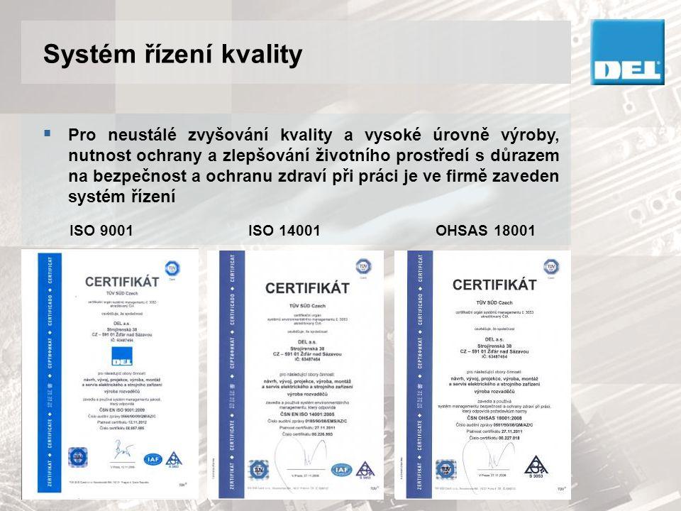 Certifikace dodávek pro jadernou energetiku  Společnost DEL a.s.