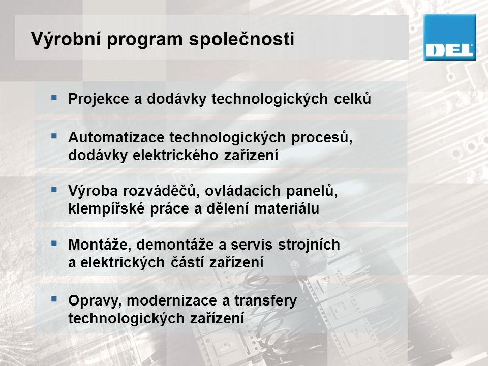 Výrobní program - ENGINEERING Projekce a kompletní dodávky  Projektový management  Robotizace, manipulace, mechanizace  Robotizovaná svařovací pracoviště, svařovací přípravky  Dopravníky, dopravníkové systémy  Vypěňovací linky  Zařízení na dělení plechu ze svitku  Opravy a modernizace technologických zařízení  Transfery technologických zařízení