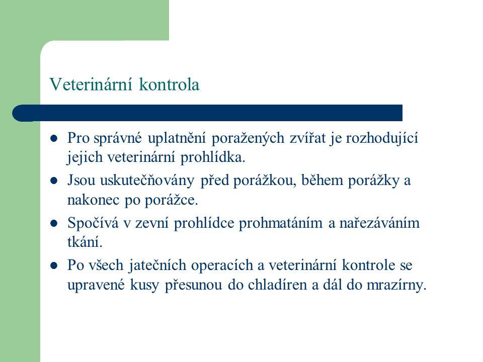 Veterinární prohlídka a konečná úprava Veterinární prohlídka hodnotí, zda nemá poražené zvíře v orgánech anatomickopatologické změny, které ukazují na nemoc nebo výskyt parazitů.