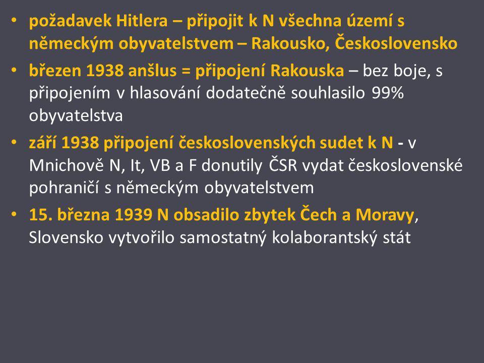 """Počátky pronásledování Židů a dalších osob od počátků Hitlerovy moci pronásledování Židů 1935 Norimberské zákony – agresivní antisemitismus – zákony o říšském občanství, """"na ochranu německé krve a německé cti lidé zbavení německého občanství nesměli uzavřít sňatek s Árijci (nesměli mít ani společný sex) nesměli navštěvovat divadla, kina, kavárny nesměli vykonávat intelektuální zaměstnání (lékaři, učitelé, vědci,...) nesměli mít majetek (Árizace židovského majetku)"""