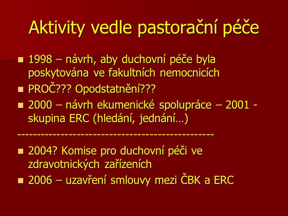 Jednotka klinické pastorační péče 2006 2006 Kolegium děkana 1.LF UK Kolegium děkana 1.LF UK Ředitel VFN Ředitel VFN