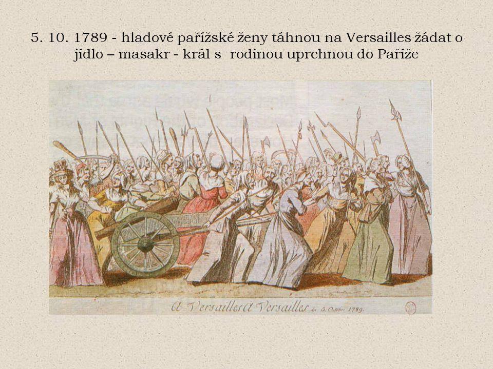 vyvlastnění církve hospodářské potíže neodstraněny, naopak prohlubují se protirevoluční povstání na venkově (několik ohnisek) emigrace šlechty červen 1791- pokus krále + rodiny o útěk do zahraničí (u hranic poznán a vrácen do Paříže) - ponechán na trůně, ale vlastně zajatec vyhrocení situace válečné přípravy Rakouska (rak.císař Leopold byl bratr francouzské královny Marie Antoinetty) a Pruska radikalizace společnosti