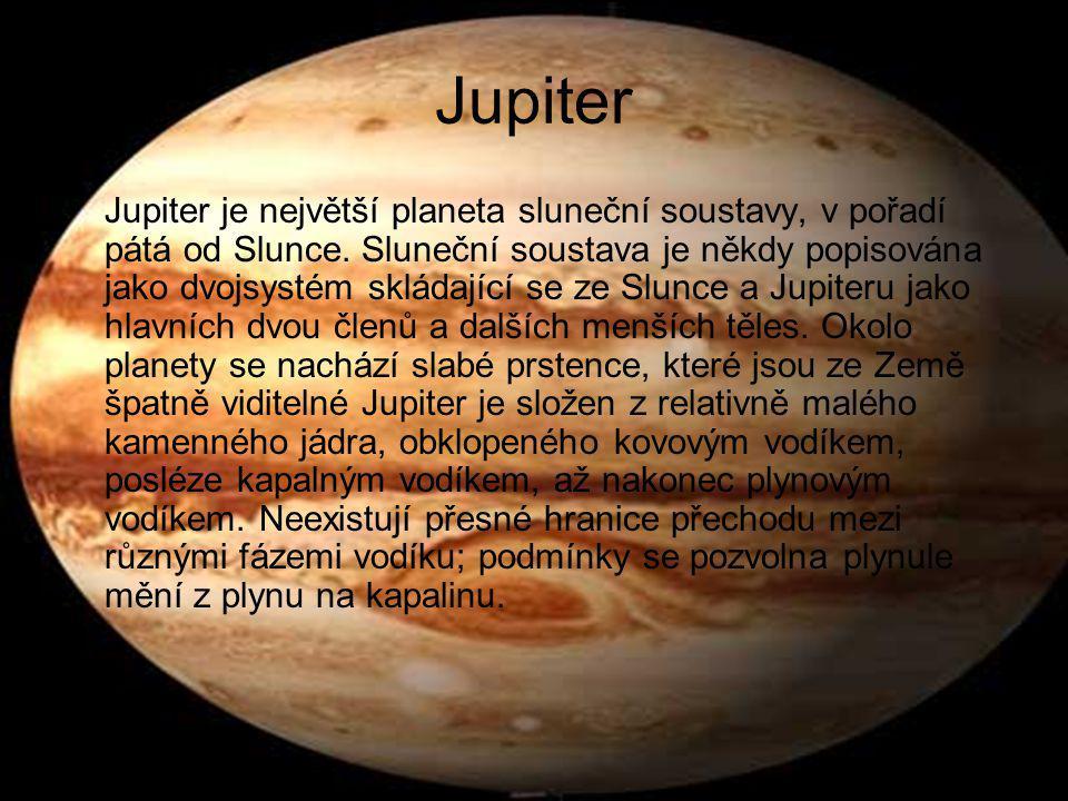 Saturn Saturn je šestá planeta sluneční soustavy, po Jupiteru druhá největší v této soustavě.