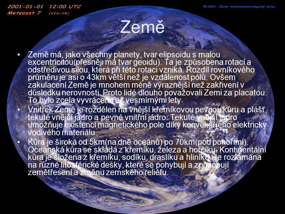Země Plášť zasahuje do hloubky 2890km.