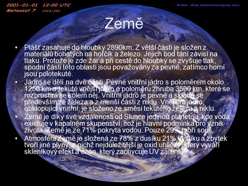 Zajímavosti a Země v datech Průměr 12 745,6km Vzdálenost od Slunce: průměrná 149 597 887 km v aféliu 152 097 701 km v perihéliu 147 098 074 km Doba oběhu kolem Slunce365,26 dne Doba otočení kolem osy 1 den Hustota 5,52 gcm-3 Hmotnost 5,976 · 1024 kg Objem1,1 · 1012 km3 Počet přirozených družic1