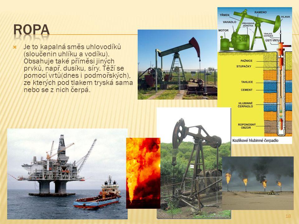 19  Dopravuje se pomocí ropovodů či tankerů, oba způsoby v sobě skrývají riziko velkých ekologických katastrof při havárii a úniku ropy do životního prostředí.