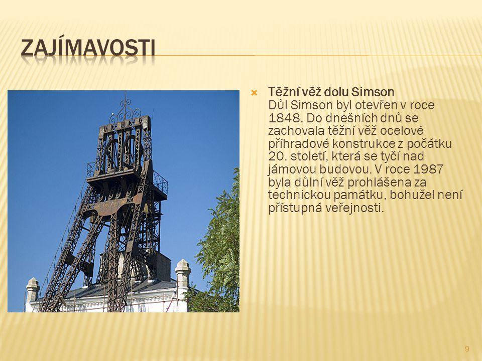 10  Těžní věž dolu Jindřich II Důl Jindřich II se stal svou hloubkou 1550 metrů nejhlubším dolem na černé uhlí v ČR a patřil i k nejhlubším v Evropě.