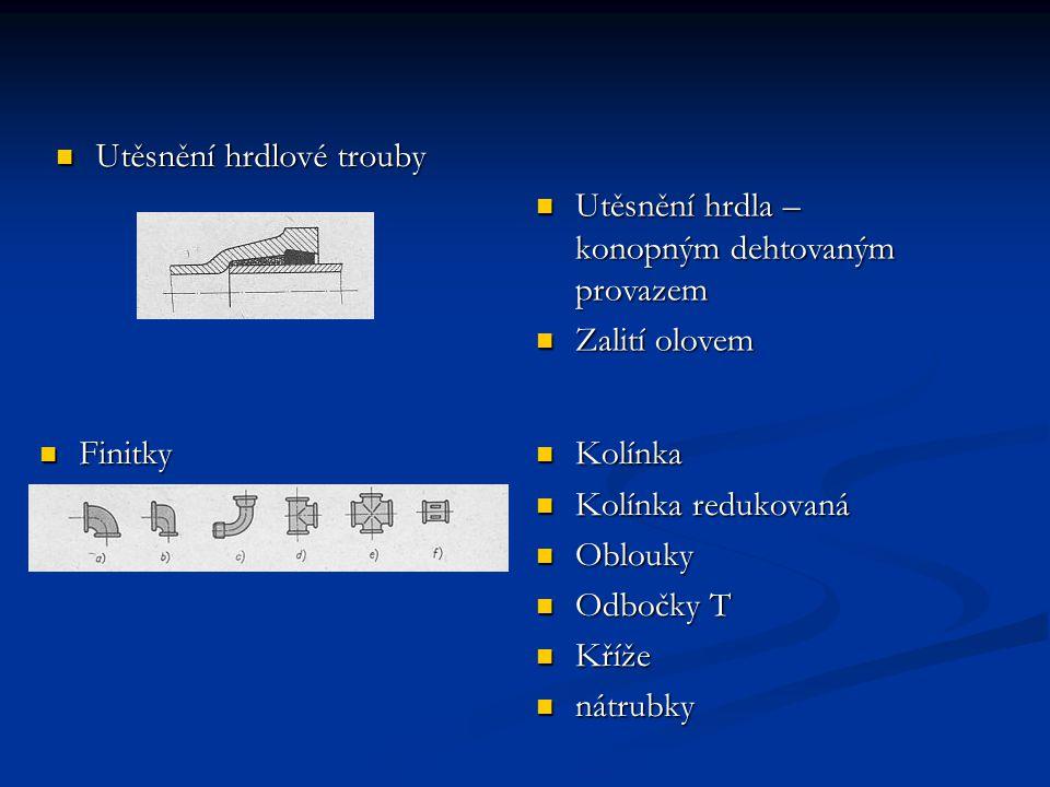 Spojování trub a trubek Rozebíratelně se trubky spojují šroubením Závitové spojení trubky s přírubami Spojení trub s přírubami nýtováním Příruba s trubkou svařováním Zleva: šroubení, závitová příruba, příruba nýtovaná Příruba přivařovaní a – plochá, b – s krkem