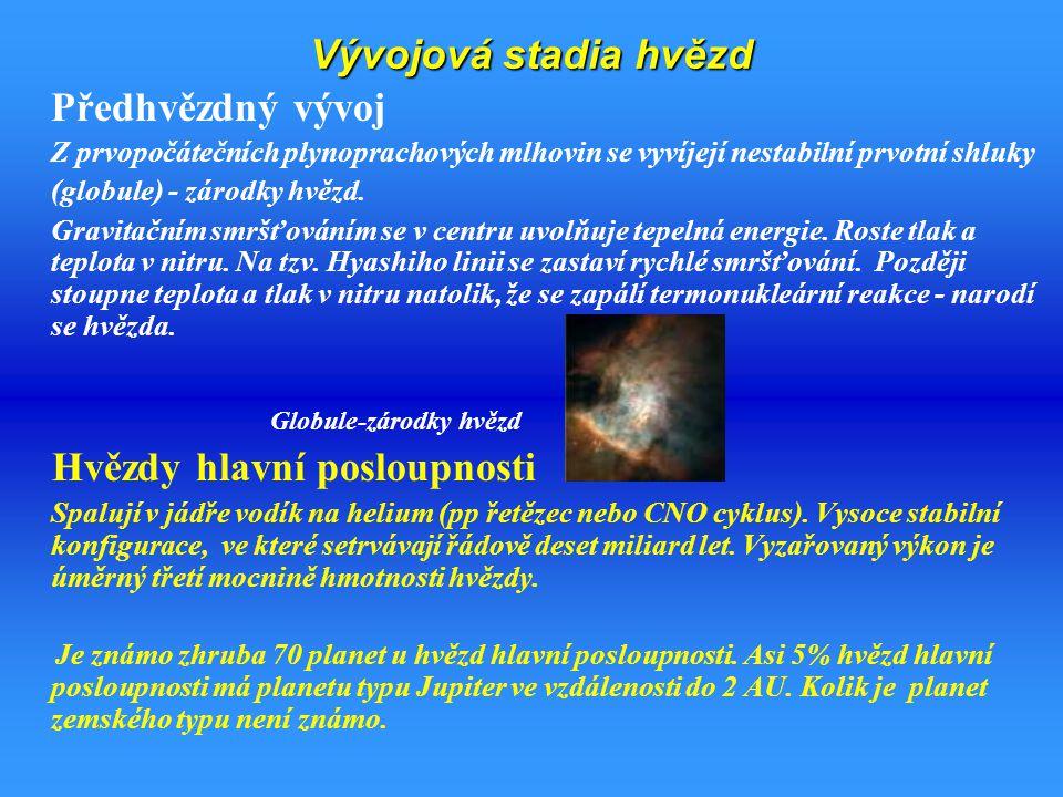 Vývojová stadia hvězd Předhvězdný vývoj Z prvopočátečních plynoprachových mlhovin se vyvíjejí nestabilní prvotní shluky (globule) - zárodky hvězd.
