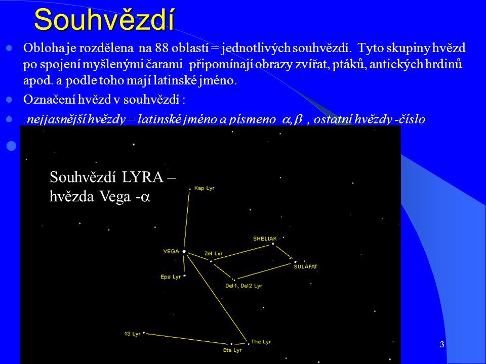 31.3.20153 Souhvězdí Obloha je rozdělena na 88 oblastí = jednotlivých souhvězdí.