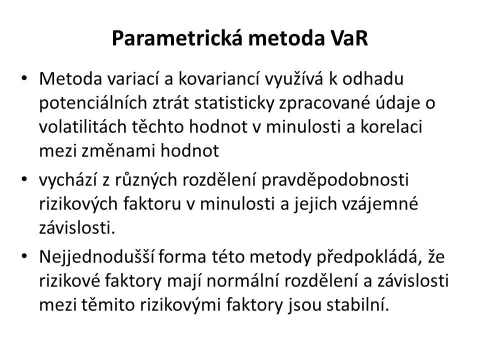 Parametrická metoda VaR Předpokládá se parametrické rozdělení změn hodnot jednotlivých rizikových faktorů Jde o model dílčího hodnocení (partial valuation model), protože počítá pouze s lineárními závislostmi /delty/ a nepočítá s nelineárními faktory /např.