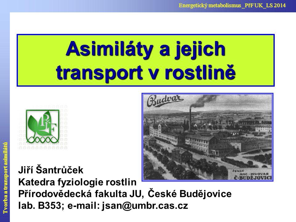 Tvorba a transport asimilátů Energetický metabolismus _PřF UK_LS 2014