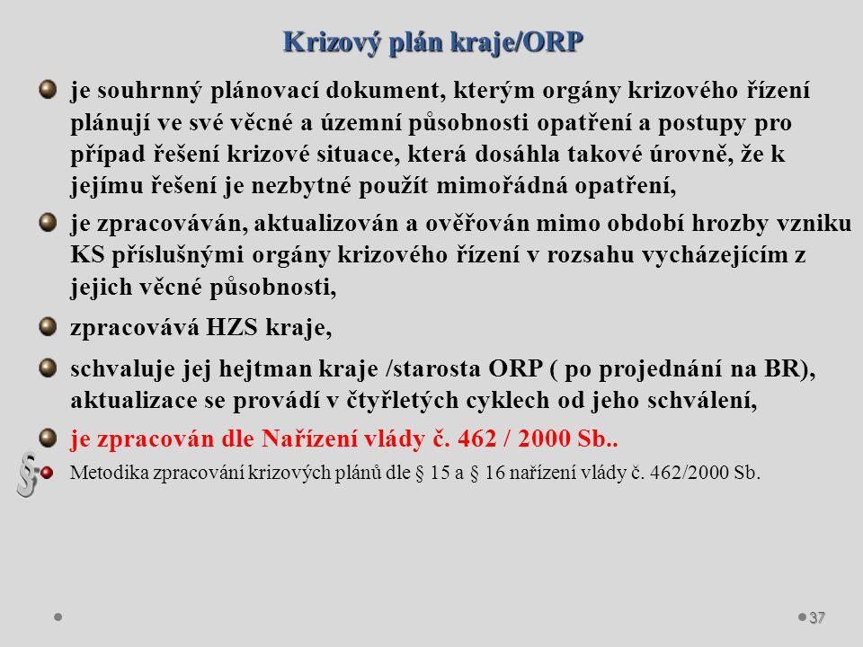 Krizový plán kraje/ORP Krizový plán kraje/ORP se skládá z informativní, operativní a přílohové části.