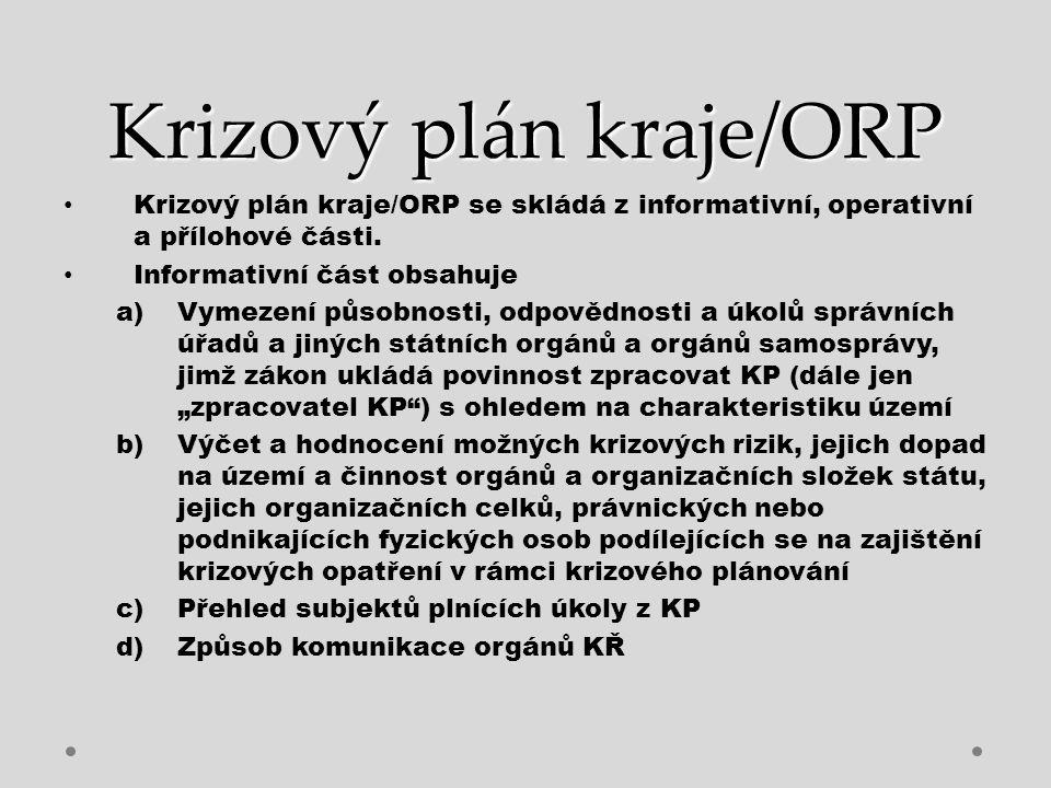 Krizový plán kraje/ORP Operativní část obsahuje Způsob realizace opatření vlády a hejtmana Plán nezbytných dodávek Regulační opatření Spojení Rozpracování typových plánů Přílohová část obsahuje  Vzory rozhodovacích dokumentů  Seznam plánů zpracovaných podle jiných předpisů  Mapy  Grafy