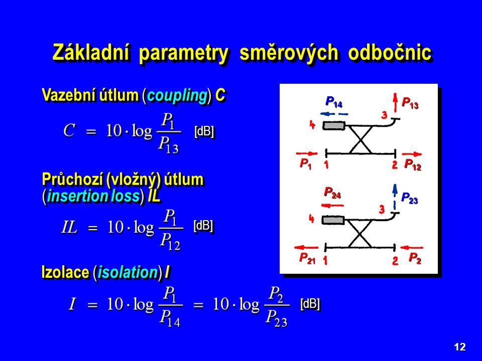 13 Směrovost ( directivity ) D vy- jadřuje míru rozdělení vstup- ního signálu mezi brány 3 a 4 P1P1P1P1 P 12 P 13 P2P2P2P2 P21P21P21P21 P 24 P 14 P 23 [dB] U ideální odbočnice je D = .