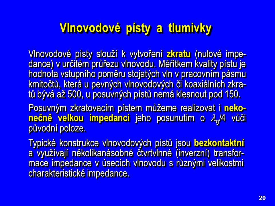 21  Tlumivkový píst  Žlábkový píst ZKZKZKZK Při Z 01 << Z 02 je Z VST  0.