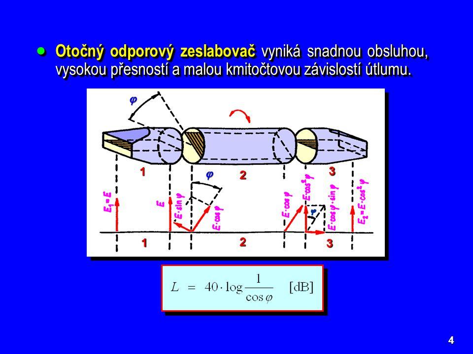 5  Neproměnné odporové zeslabovače – útlumová vložka je nepohyblivá a může být rozměrná s dobrým odvodem tepla.