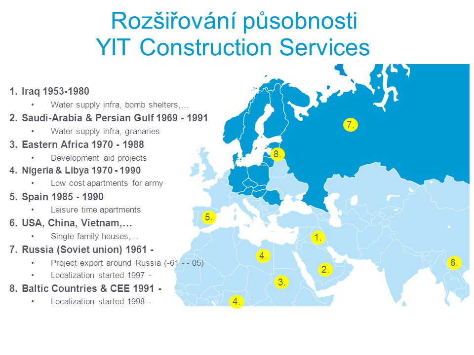 Milníky a rozvoj YIT v uplynulých 11 letech YIT in 2000 YIT in 2011 Revenue EUR 1.2 billion Operating profit EUR 90 million Personnel 8,600 at the end of the year Revenue EUR 4.5 billion Operating profit EUR 241 million Personnel 26,000 at the end of the year 10 new countries Revenue more than tripled Operating profit more than doubled Personnel tripled *Revenue and operating profit figures 2000 and 2011 according to POC (percentage of completion) method.