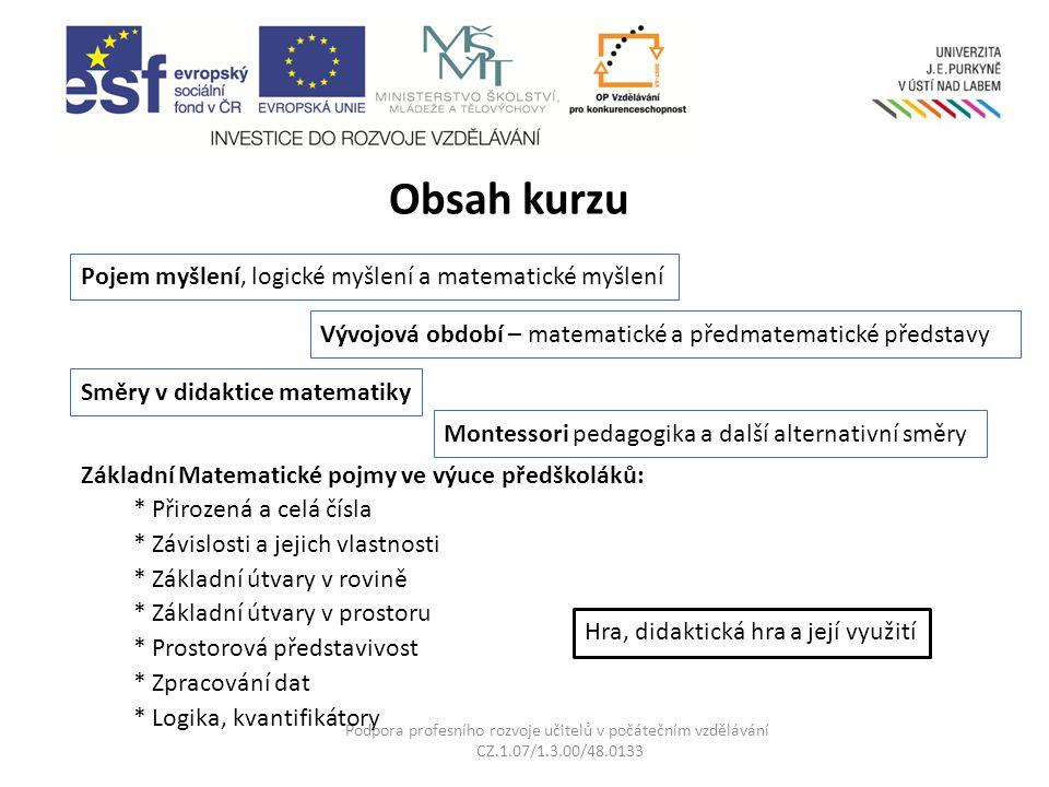 Podpora profesního rozvoje učitelů v počátečním vzdělávání CZ.1.07/1.3.00/48.0133 Co získám absolvováním kurzu.