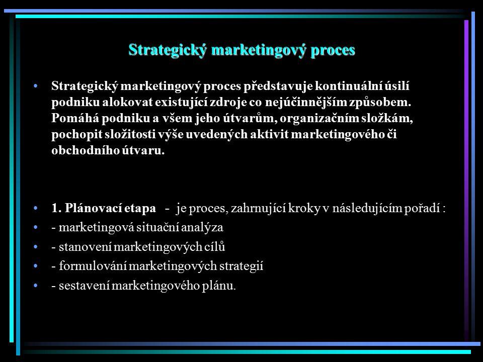 """Marketingové strategie Marketingová strategie - v této části marketingového plánování manageři nastiňují obecné marketingové strategie, neboli """"plán hry , Strategie využívající životní cyklus výrobku a jednotlivé prvky marketingového mixu: - Cenové strategie - Distribuční strategie - Produktové strategie, segmentace, umisťování produktu na trhu - Komunikační strategie Strategie zaměřené na odběratele – dají se chápat jako dlouhodobý plán činností, jehož obsahem je realizace jedné nebo více výhod na úrovni oboru podnikání – inovační orientace, orientace na jakost."""