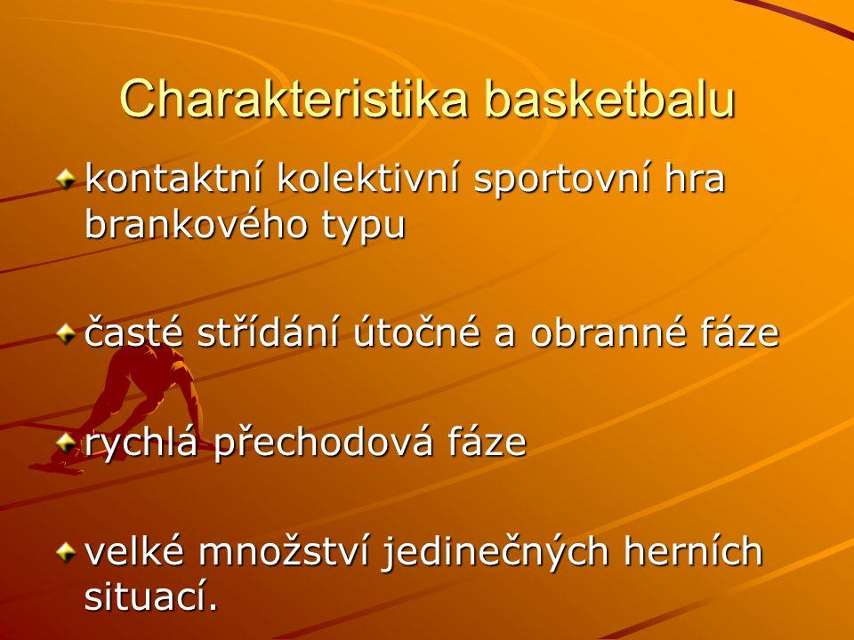 cílem hry je vhodit míč do koše soupeře a zabránit vhození míče do vlastního koše mezi typické basketbalové dovednosti patří uvolnění hráče s míčem a bez míče, střelba na koš, přihrávky a obranné činnosti kolísavá intenzita zatížení - během utkání hráč naběhá 5 – 7,5 km (nejvíce rozehrávači a křídelní hráči), udělá přibližně 50 výskoků, 640x změní směr a 440x změní rychlost