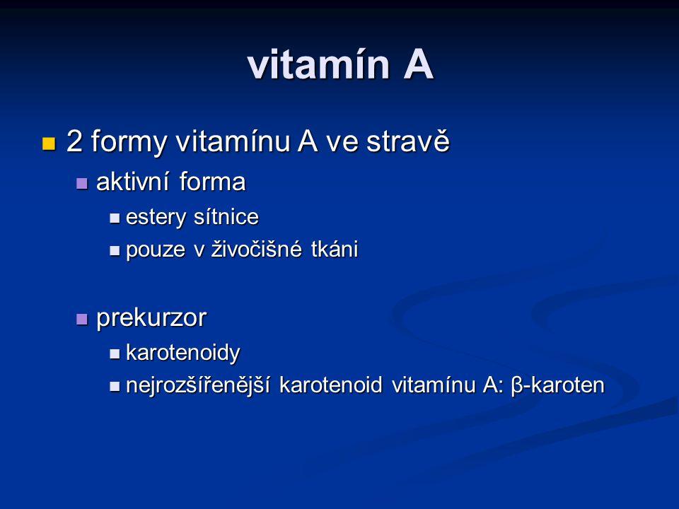Vitamín A a β-karoten Beta- karoten podporuje reprodukci účastní se vidění reguluje růst živočišná potrava (estery sítnice) V POTRAVĚ V TĚLE