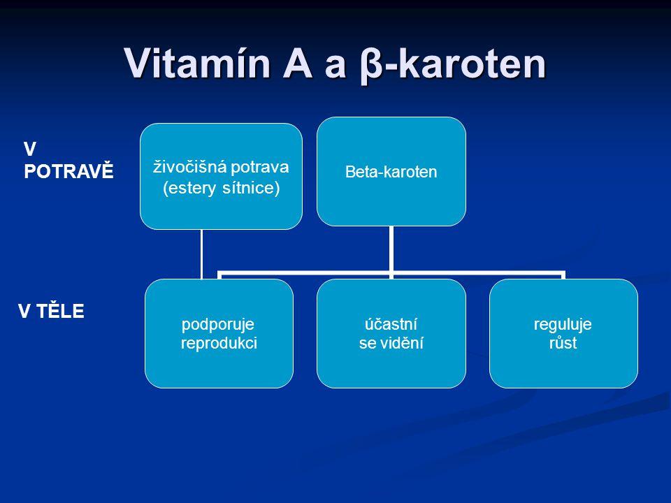 Absorpce a funkce Absorpce Absorpce játra hrají u vitamínu A životně důležitou úlohu játra hrají u vitamínu A životně důležitou úlohu pomáhá s transportem zásob pomáhá s transportem zásob Doporučení DRP: Doporučení DRP: muži: 900  g RAE/den muži: 900  g RAE/den ženy: 700  g RAE/den ženy: 700  g RAE/den Funkce vidění udržování rohovky, buněk epitelu, sliznic, kůže růst kostí a zubů reprodukce imunita